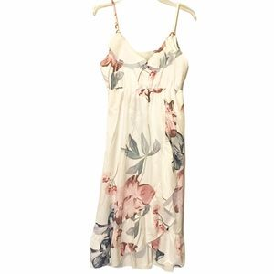 White Floral Strappy High/LowDress